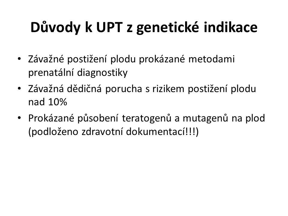 Důvody k UPT z genetické indikace Závažné postižení plodu prokázané metodami prenatální diagnostiky Závažná dědičná porucha s rizikem postižení plodu nad 10% Prokázané působení teratogenů a mutagenů na plod (podloženo zdravotní dokumentací!!!)