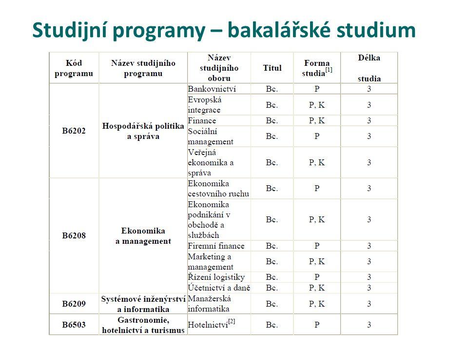 Studijní programy – bakalářské studium