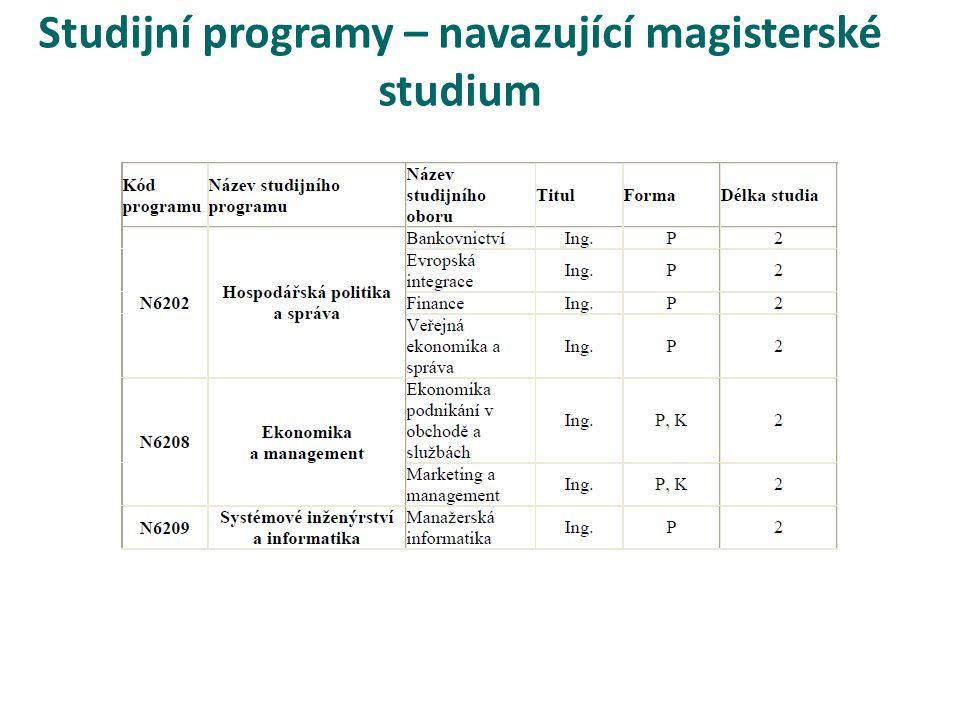 Studijní programy – navazující magisterské studium