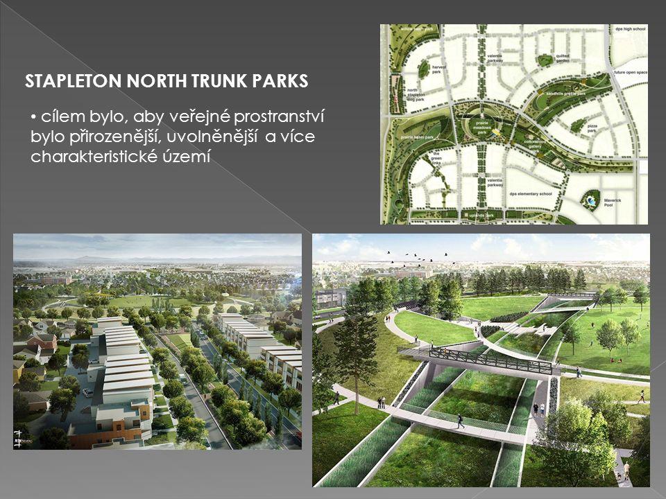 STAPLETON NORTH TRUNK PARKS cílem bylo, aby veřejné prostranství bylo přirozenější, uvolněnější a více charakteristické území