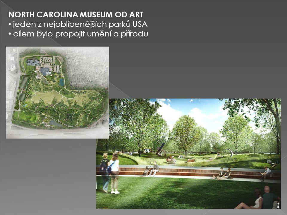 NORTH CAROLINA MUSEUM OD ART jeden z nejoblíbenějších parků USA cílem bylo propojit umění a přírodu