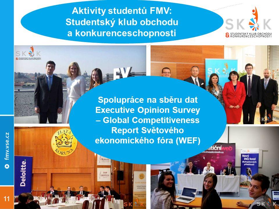 11 Aktivity studentů FMV: Studentský klub obchodu a konkurenceschopnosti Spolupráce na sběru dat Executive Opinion Survey – Global Competitiveness Report Světového ekonomického fóra (WEF)