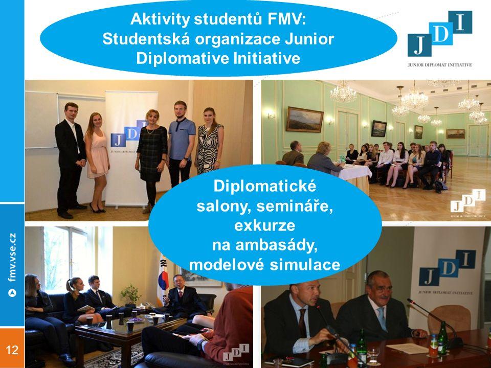 12 Aktivity studentů FMV: Studentská organizace Junior Diplomative Initiative Diplomatické salony, semináře, exkurze na ambasády, modelové simulace