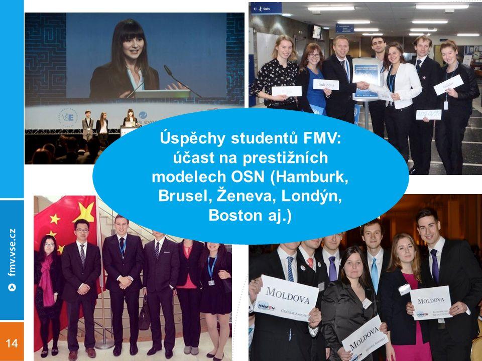 14 Úspěchy studentů FMV: účast na prestižních modelech OSN (Hamburk, Brusel, Ženeva, Londýn, Boston aj.)