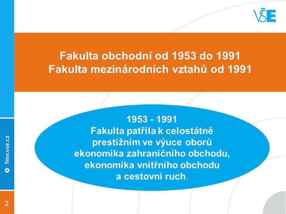 2 1953 - 1991 Fakulta patřila k celostátně prestižním ve výuce oborů ekonomika zahraničního obchodu, ekonomika vnitřního obchodu a cestovní ruch.