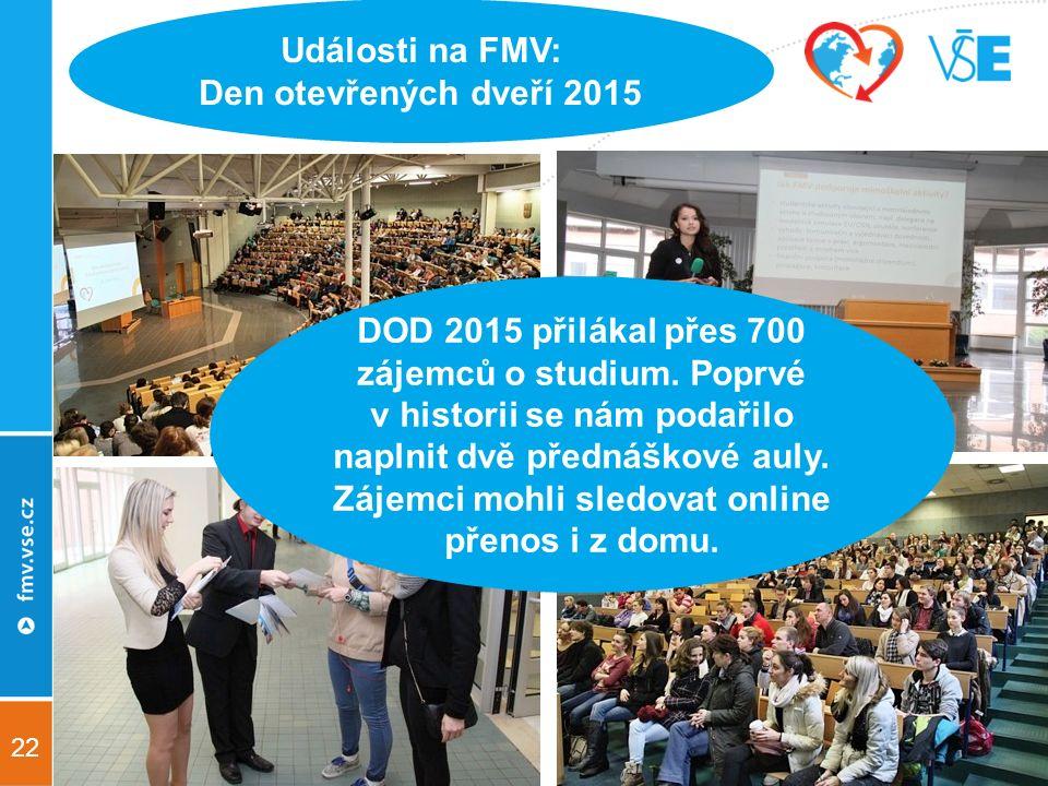 22 Události na FMV: Den otevřených dveří 2015 DOD 2015 přilákal přes 700 zájemců o studium.