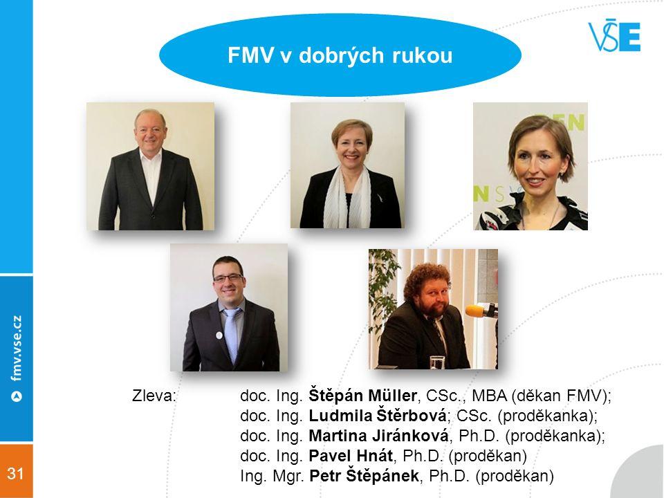 31 FMV v dobrých rukou Zleva: doc. Ing. Štěpán Müller, CSc., MBA (děkan FMV); doc.