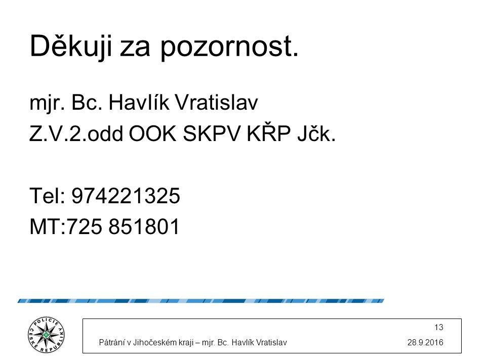 28.9.2016Pátrání v Jihočeském kraji – mjr. Bc. Havlík Vratislav 13 Děkuji za pozornost.