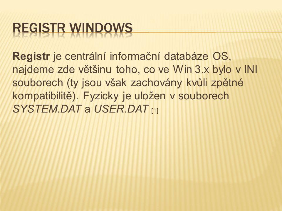 Registr je centrální informační databáze OS, najdeme zde většinu toho, co ve Win 3.x bylo v INI souborech (ty jsou však zachovány kvůli zpětné kompati