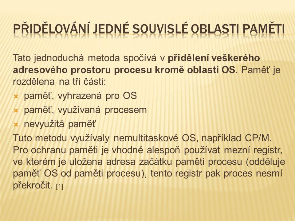 Tato jednoduchá metoda spočívá v přidělení veškerého adresového prostoru procesu kromě oblasti OS.