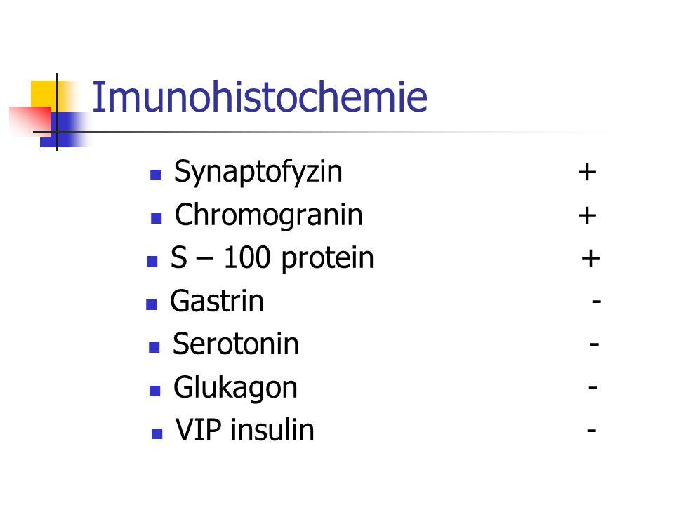 Imunohistochemie Synaptofyzin + Chromogranin + S – 100 protein + Gastrin - Serotonin - Glukagon - VIP insulin -