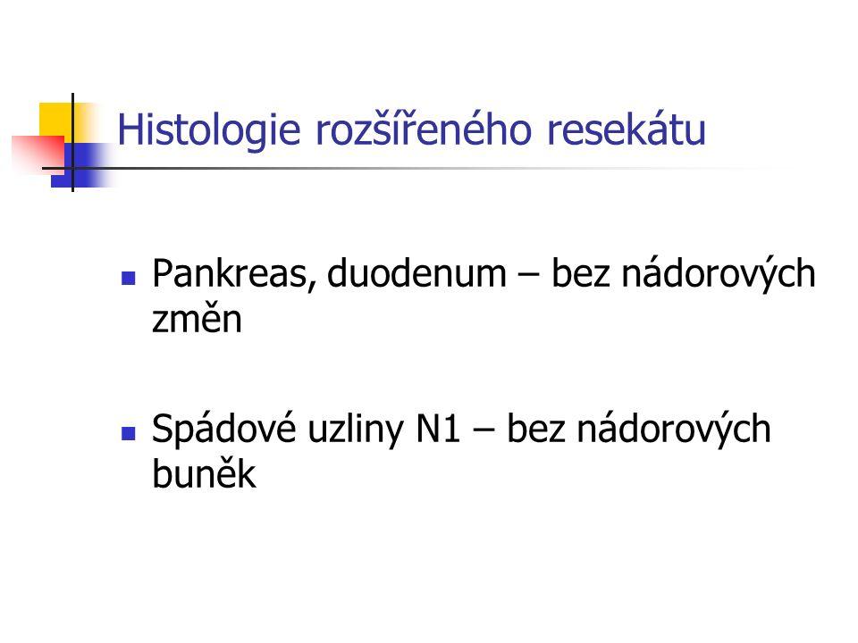 Histologie rozšířeného resekátu Pankreas, duodenum – bez nádorových změn Spádové uzliny N1 – bez nádorových buněk
