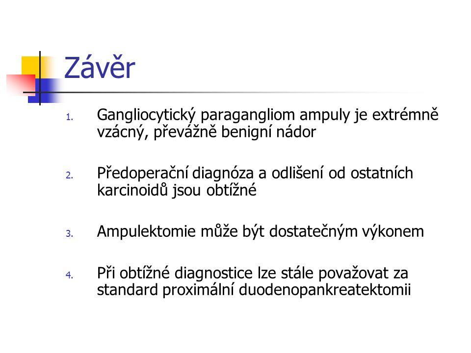 Závěr 1. Gangliocytický paragangliom ampuly je extrémně vzácný, převážně benigní nádor 2. Předoperační diagnóza a odlišení od ostatních karcinoidů jso