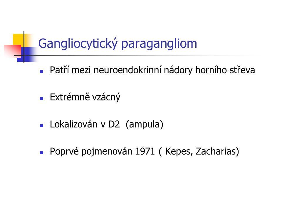 Gangliocytický paragangliom Patří mezi neuroendokrinní nádory horního střeva Extrémně vzácný Lokalizován v D2 (ampula) Poprvé pojmenován 1971 ( Kepes, Zacharias)