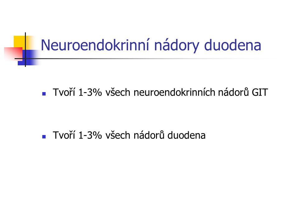 Neuroendokrinní nádory duodena Tvoří 1-3% všech neuroendokrinních nádorů GIT Tvoří 1-3% všech nádorů duodena