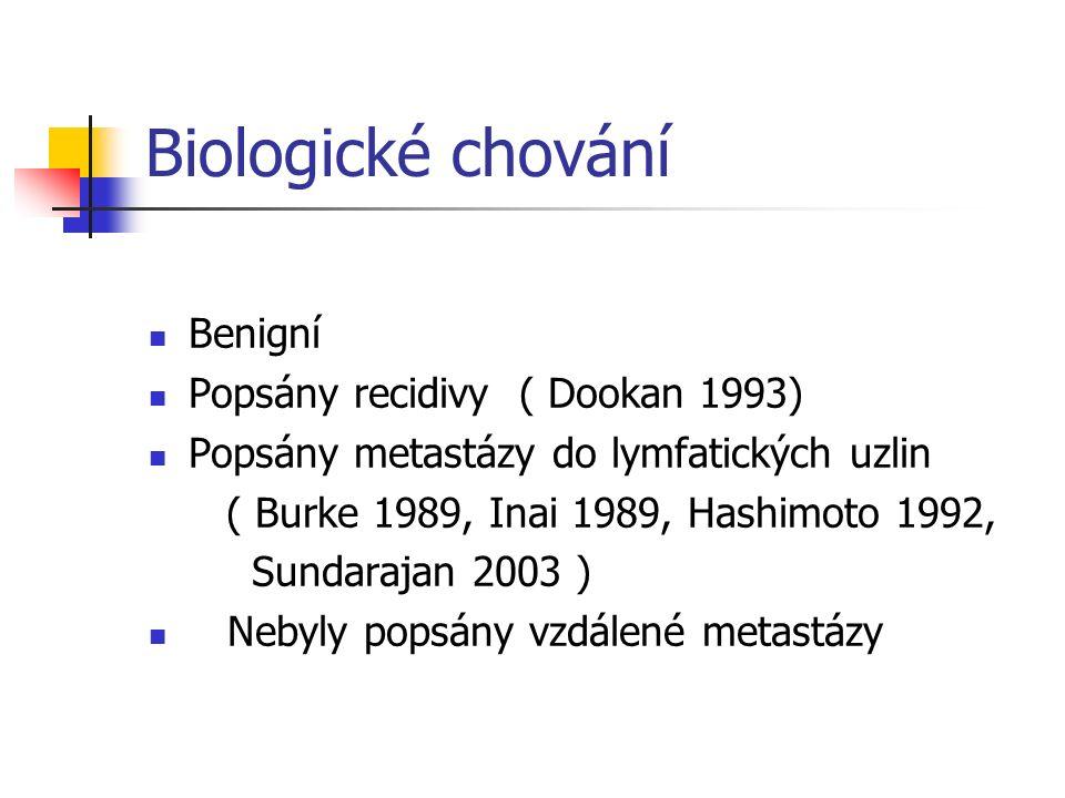 Biologické chování Benigní Popsány recidivy ( Dookan 1993) Popsány metastázy do lymfatických uzlin ( Burke 1989, Inai 1989, Hashimoto 1992, Sundarajan 2003 ) Nebyly popsány vzdálené metastázy