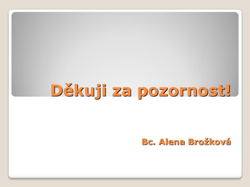 Děkuji za pozornost! Bc. Alena Brožková Děkuji za pozornost! Bc. Alena Brožková