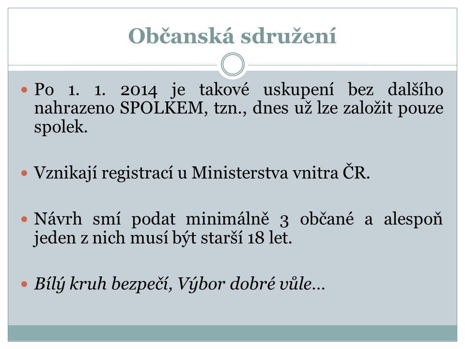 Občanská sdružení Po 1. 1. 2014 je takové uskupení bez dalšího nahrazeno SPOLKEM, tzn., dnes už lze založit pouze spolek. Vznikají registrací u Minist