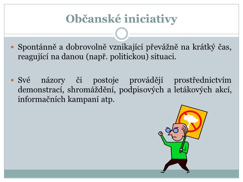 Občanské iniciativy Spontánně a dobrovolně vznikající převážně na krátký čas, reagující na danou (např. politickou) situaci. Své názory či postoje pro