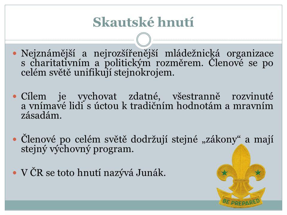 Skautské hnutí Nejznámější a nejrozšířenější mládežnická organizace s charitativním a politickým rozměrem.