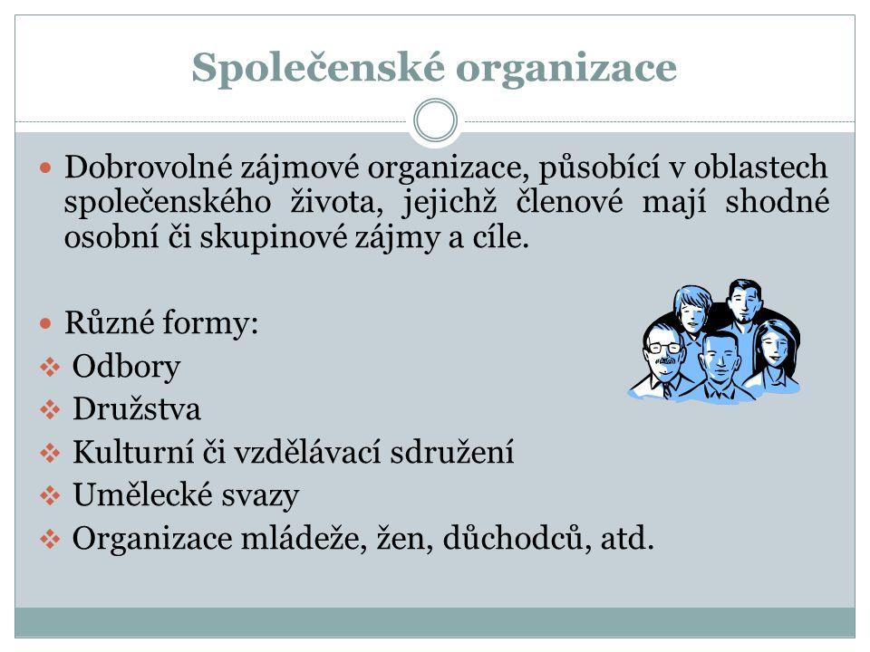 Společenské organizace Dobrovolné zájmové organizace, působící v oblastech společenského života, jejichž členové mají shodné osobní či skupinové zájmy a cíle.