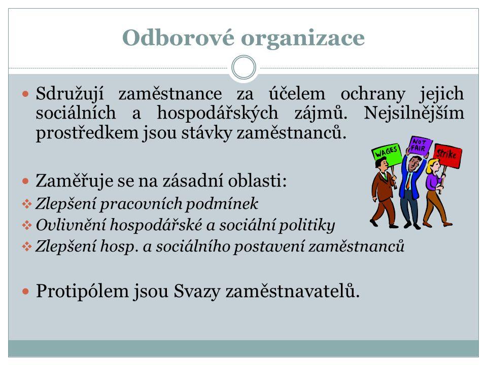 Odborové organizace Sdružují zaměstnance za účelem ochrany jejich sociálních a hospodářských zájmů.