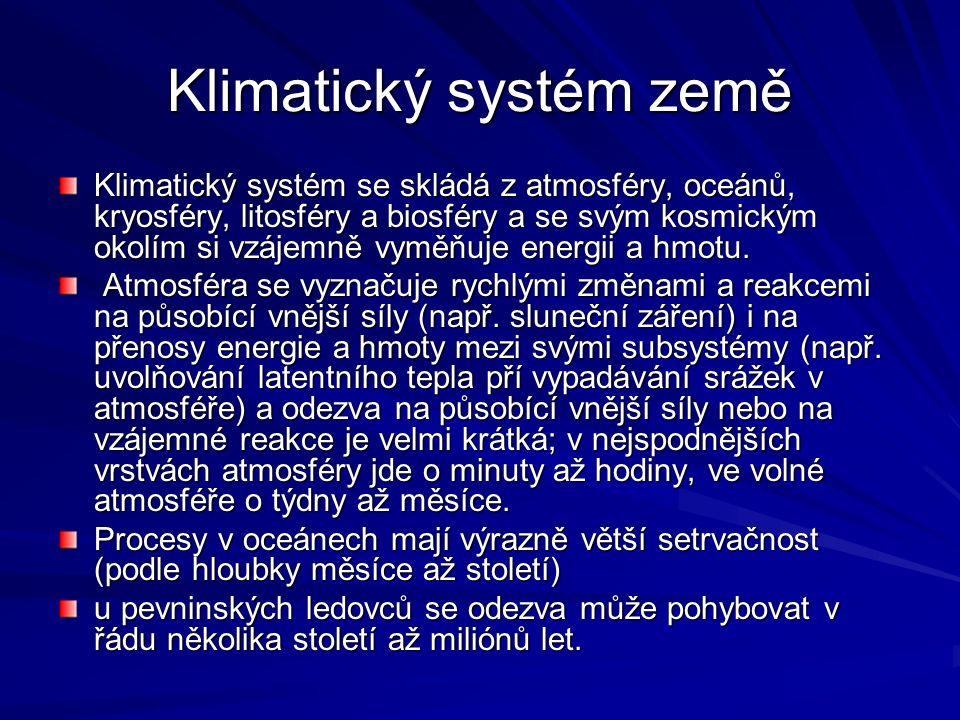 Klimatický systém země Klimatický systém se skládá z atmosféry, oceánů, kryosféry, litosféry a biosféry a se svým kosmickým okolím si vzájemně vyměňuj