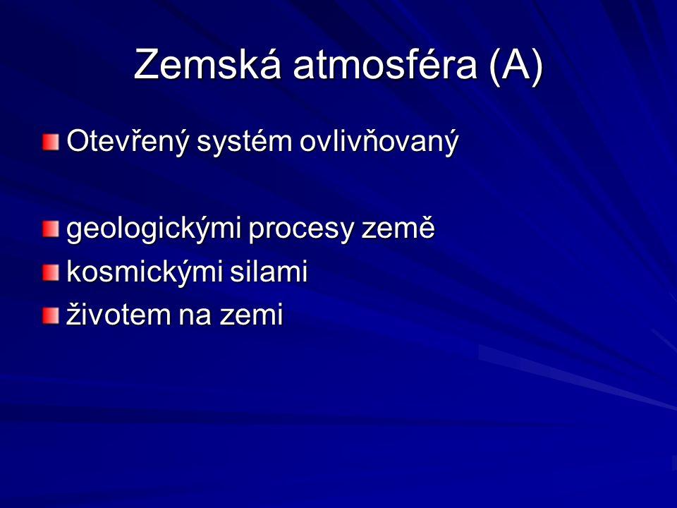 Zemská atmosféra (A) Otevřený systém ovlivňovaný geologickými procesy země kosmickými silami životem na zemi