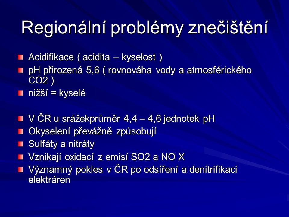Regionální problémy znečištění Acidifikace ( acidita – kyselost ) pH přirozená 5,6 ( rovnováha vody a atmosférického CO2 ) nižší = kyselé V ČR u sráže