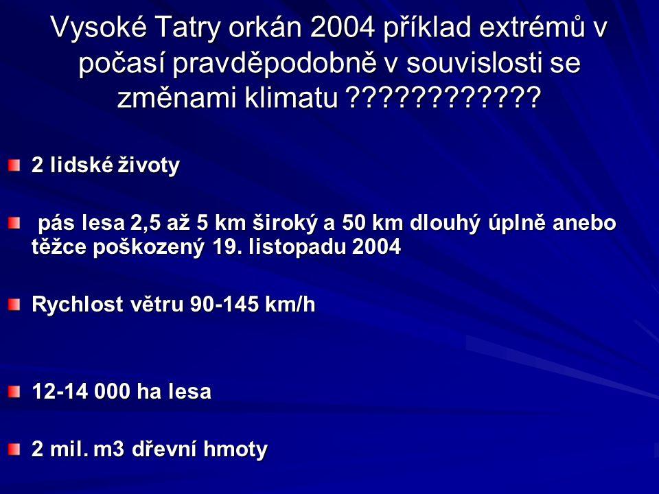 Vysoké Tatry orkán 2004 příklad extrémů v počasí pravděpodobně v souvislosti se změnami klimatu ???????????? 2 lidské životy pás lesa 2,5 až 5 km širo