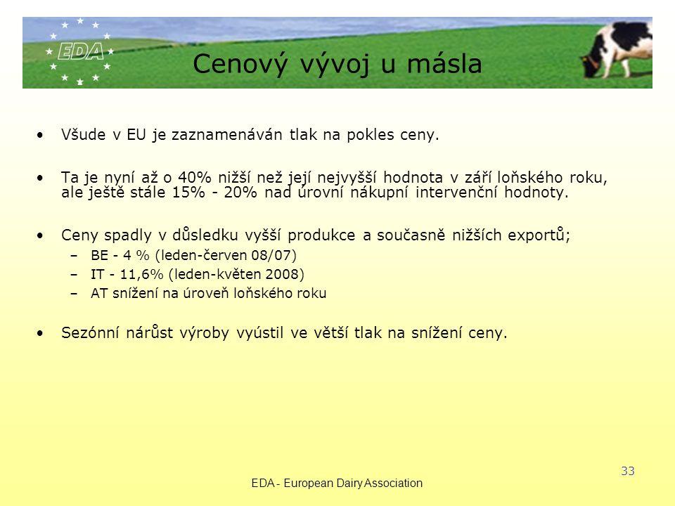 EDA - European Dairy Association 33 Cenový vývoj u másla Všude v EU je zaznamenáván tlak na pokles ceny.