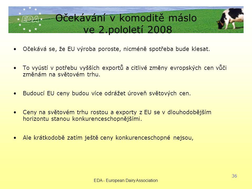 EDA - European Dairy Association 36 Očekávání v komoditě máslo ve 2.pololetí 2008 Očekává se, že EU výroba poroste, nicméně spotřeba bude klesat.