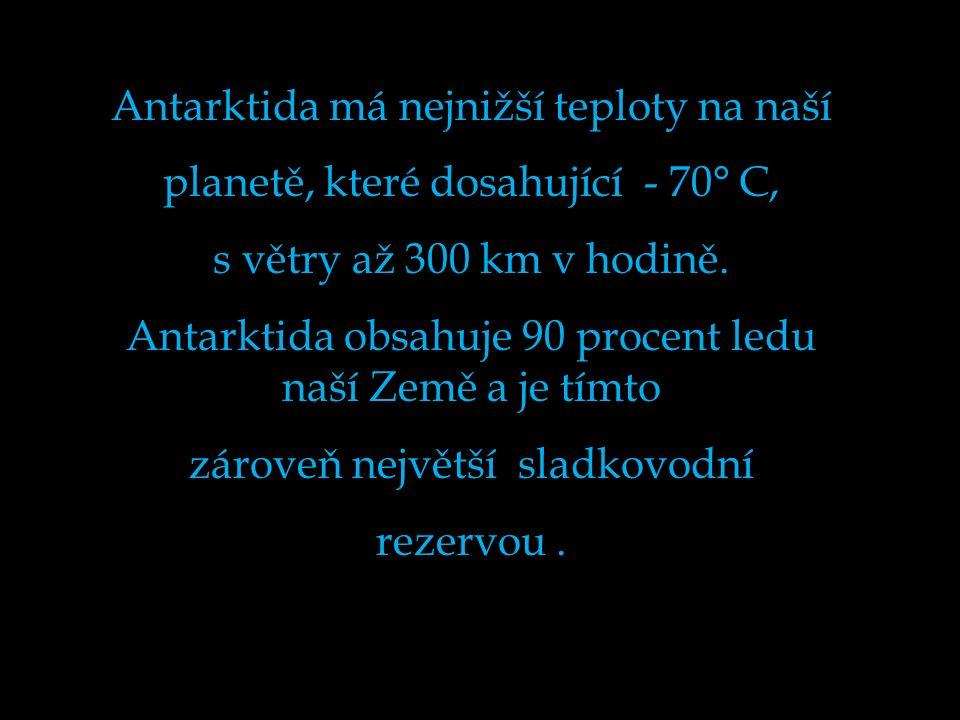 Antarktida má nejnižší teploty na naší planetě, které dosahující - 70° C, s větry až 300 km v hodině.