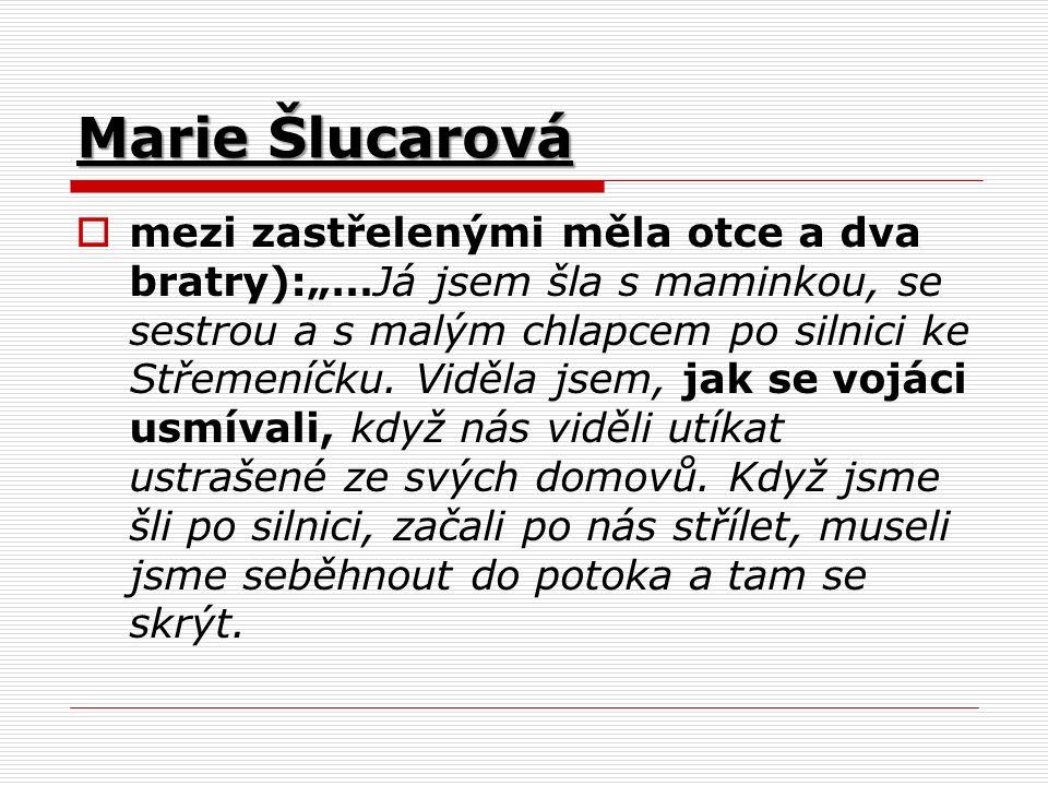 """Marie Šlucarová  mezi zastřelenými měla otce a dva bratry):""""…Já jsem šla s maminkou, se sestrou a s malým chlapcem po silnici ke Střemeníčku."""