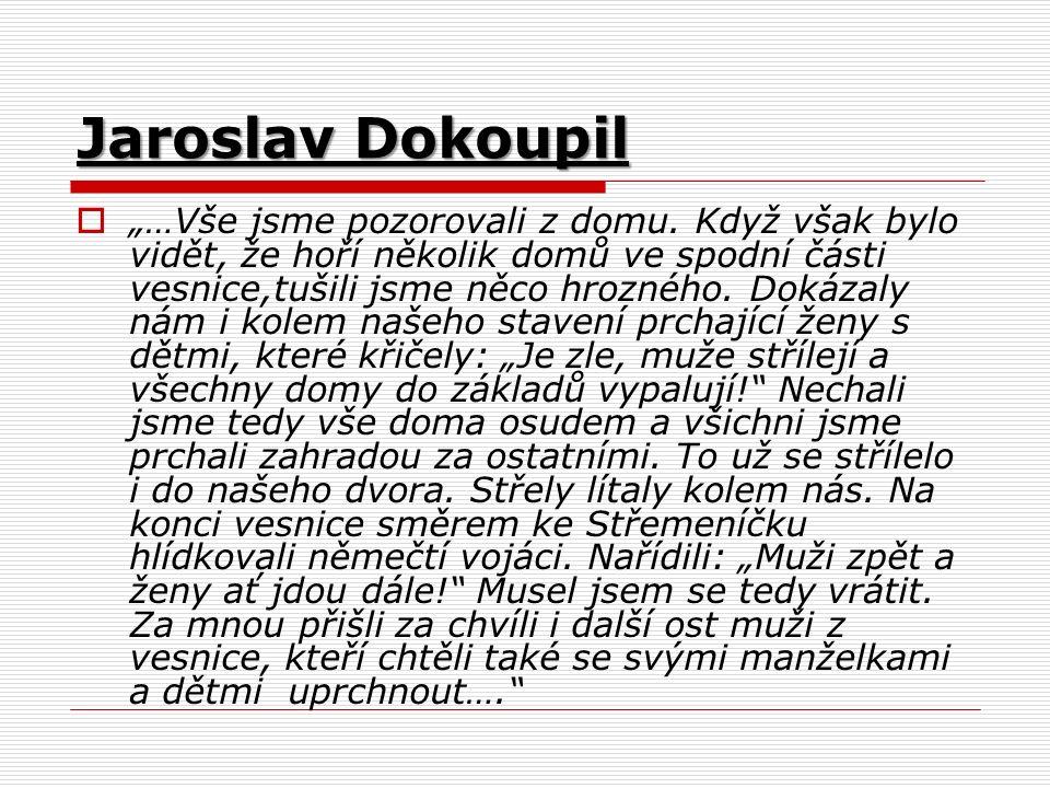 """Jaroslav Dokoupil  """"…Vše jsme pozorovali z domu."""