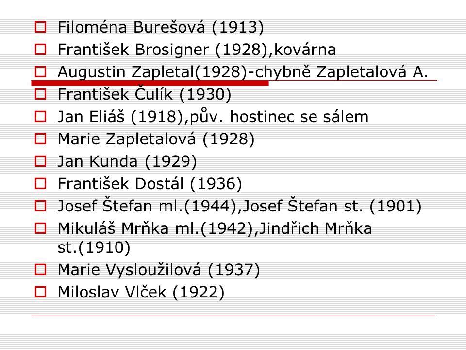  Filoména Burešová (1913)  František Brosigner (1928),kovárna  Augustin Zapletal(1928)-chybně Zapletalová A.