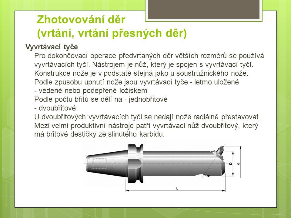 Zhotovování děr (vrtání, vrtání přesných děr) Vyvrtávací tyče Pro dokončovací operace předvrtaných děr větších rozměrů se používá vyvrtávacích tyčí.
