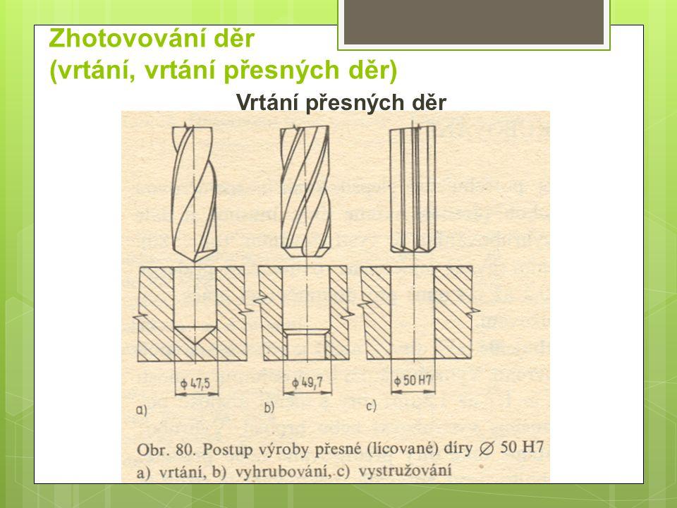 Zhotovování děr (vrtání, vrtání přesných děr) Vrtání přesných děr