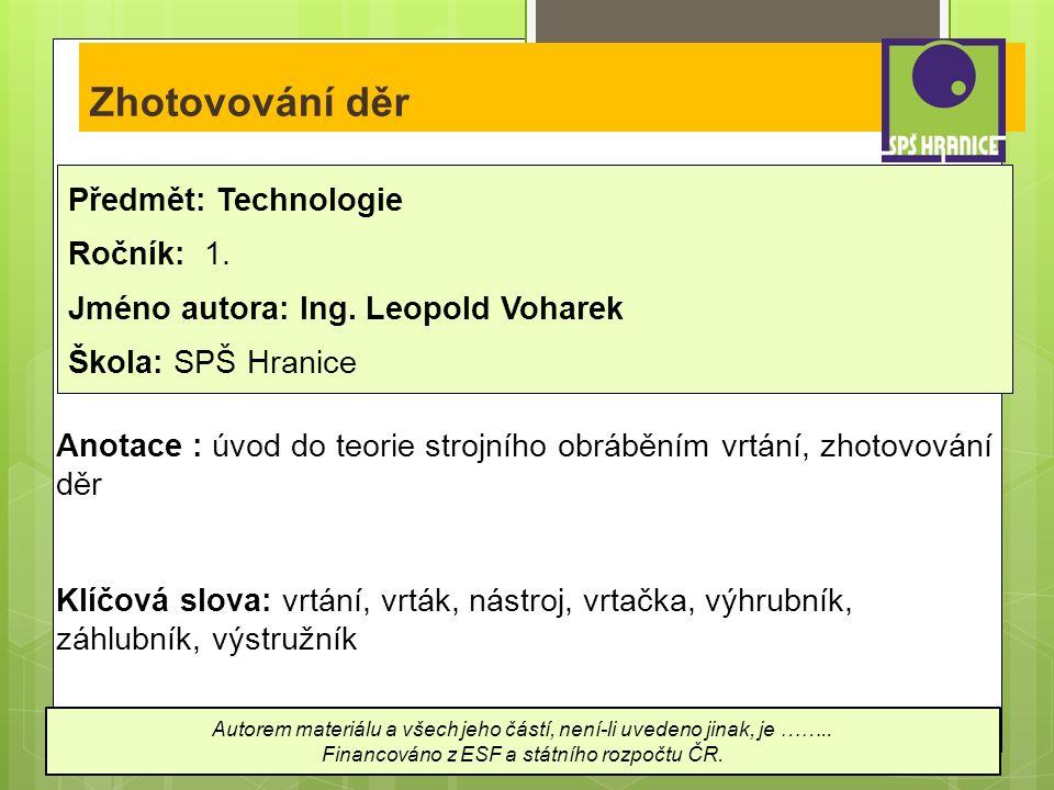 Zhotovování děr Předmět: Technologie Ročník: 1. Jméno autora: Ing.