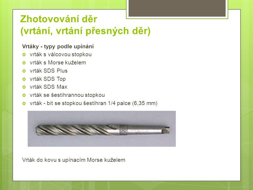 Zhotovování děr (vrtání, vrtání přesných děr) Vrtáky Šroubovitý vrták je dvoubřitový nástroj se šroubovými drážkami pro odvod třísek a přívod chladící kapaliny.