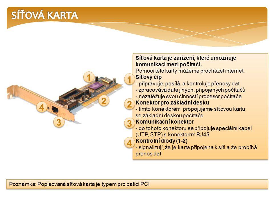 Síťová karta je zařízení, které umožňuje komunikaci mezi počítači.