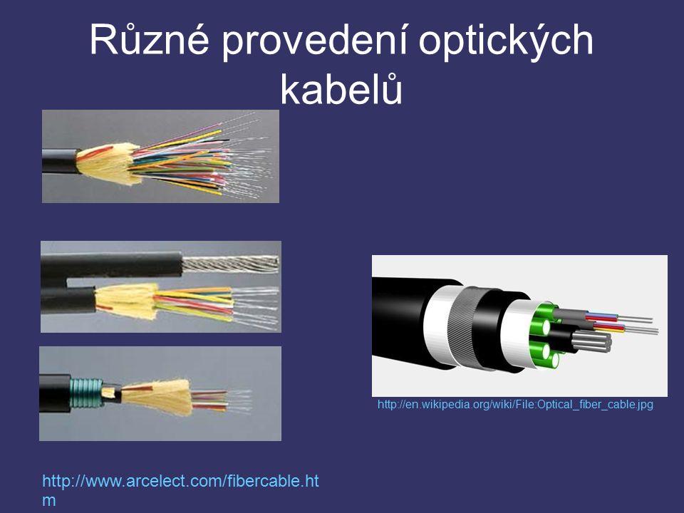 Různé provedení optických kabelů http://www.arcelect.com/fibercable.ht m http://en.wikipedia.org/wiki/File:Optical_fiber_cable.jpg