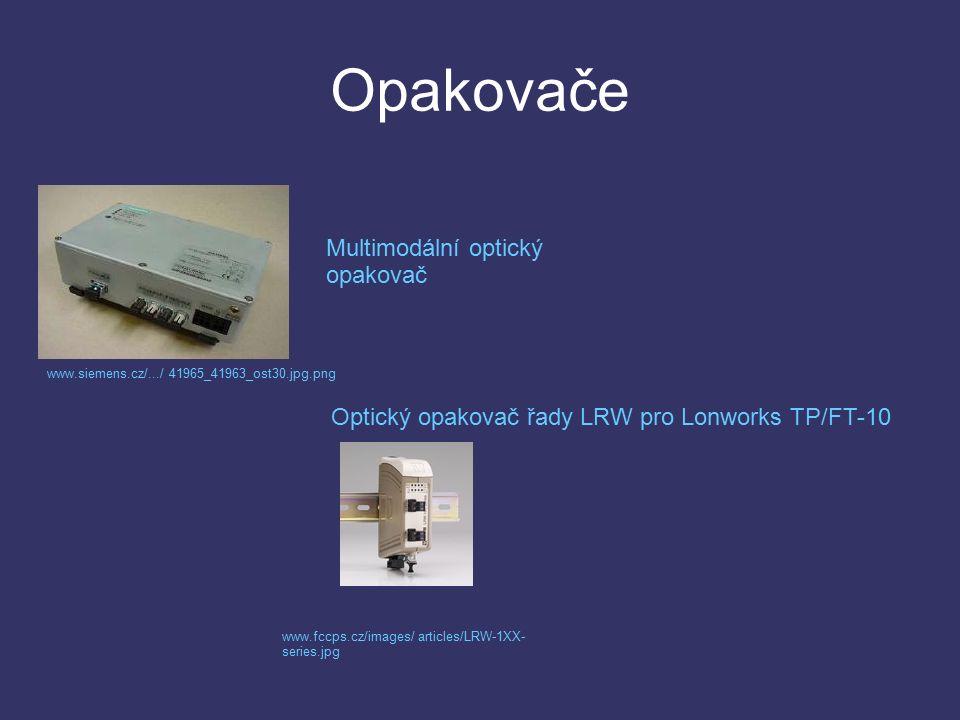 Opakovače Multimodální optický opakovač www.siemens.cz/.../ 41965_41963_ost30.jpg.png Optický opakovač řady LRW pro Lonworks TP/FT-10 www.fccps.cz/images/ articles/LRW-1XX- series.jpg