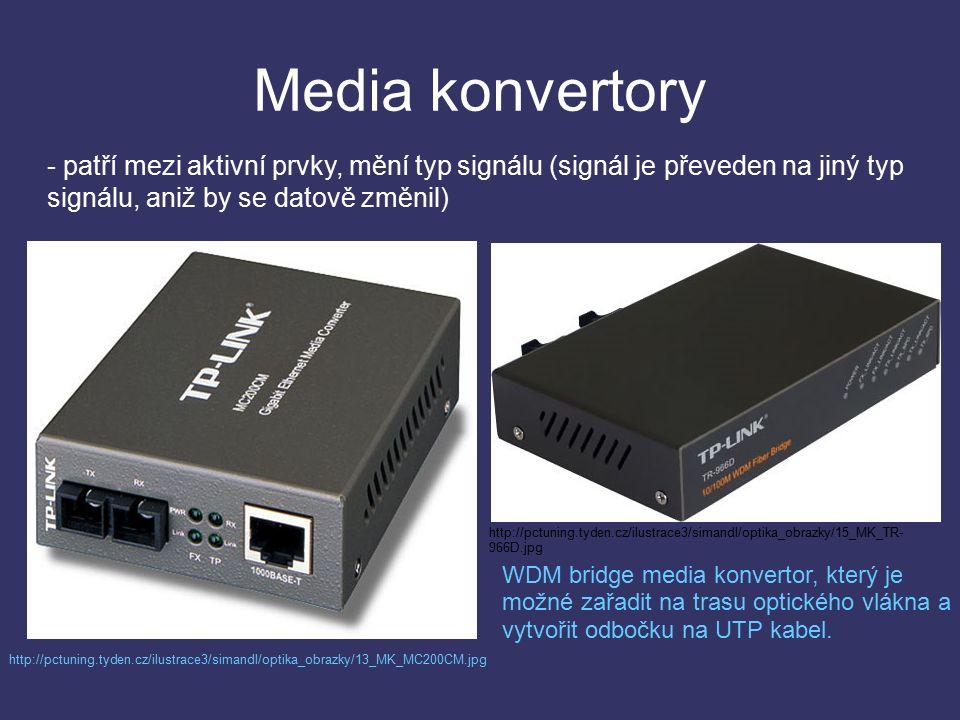 Media konvertory - patří mezi aktivní prvky, mění typ signálu (signál je převeden na jiný typ signálu, aniž by se datově změnil) http://pctuning.tyden.cz/ilustrace3/simandl/optika_obrazky/13_MK_MC200CM.jpg http://pctuning.tyden.cz/ilustrace3/simandl/optika_obrazky/15_MK_TR- 966D.jpg WDM bridge media konvertor, který je možné zařadit na trasu optického vlákna a vytvořit odbočku na UTP kabel.