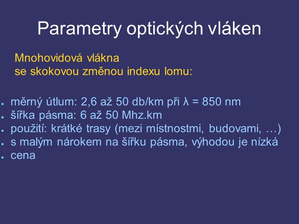 Parametry optických vláken ● měrný útlum: 2,6 až 50 db/km při λ = 850 nm ● šířka pásma: 6 až 50 Mhz.km ● použití: krátké trasy (mezi místnostmi, budovami, …) ● s malým nárokem na šířku pásma, výhodou je nízká ● cena Mnohovidová vlákna se skokovou změnou indexu lomu: