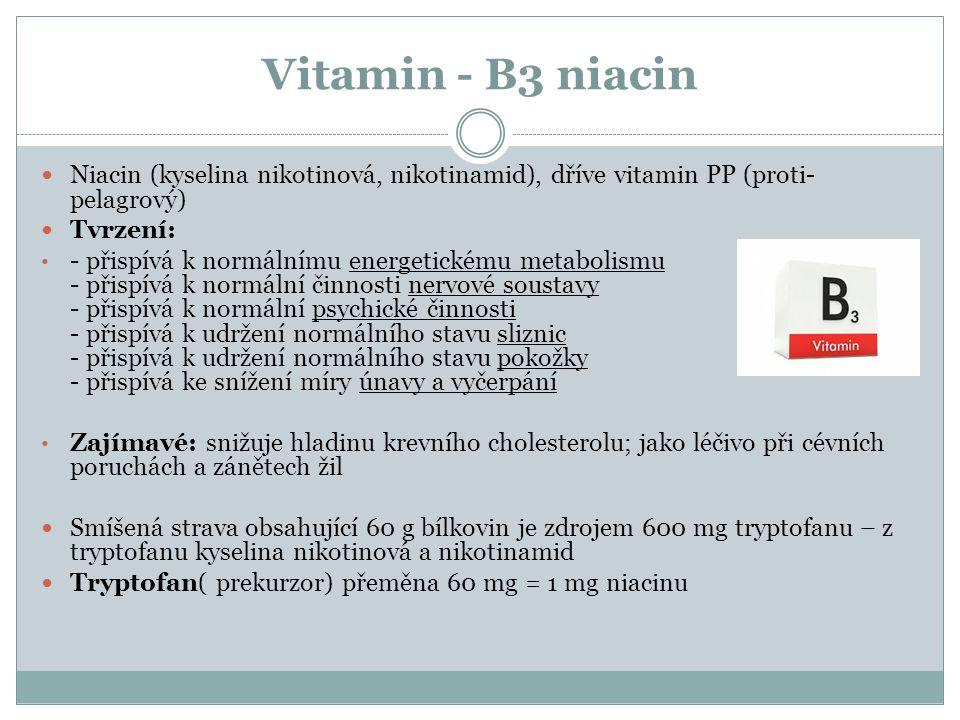Vitamin - B3 niacin Niacin (kyselina nikotinová, nikotinamid), dříve vitamin PP (proti- pelagrový) Tvrzení: - přispívá k normálnímu energetickému metabolismu - přispívá k normální činnosti nervové soustavy - přispívá k normální psychické činnosti - přispívá k udržení normálního stavu sliznic - přispívá k udržení normálního stavu pokožky - přispívá ke snížení míry únavy a vyčerpání Zajímavé: snižuje hladinu krevního cholesterolu; jako léčivo při cévních poruchách a zánětech žil Smíšená strava obsahující 60 g bílkovin je zdrojem 600 mg tryptofanu – z tryptofanu kyselina nikotinová a nikotinamid Tryptofan( prekurzor) přeměna 60 mg = 1 mg niacinu