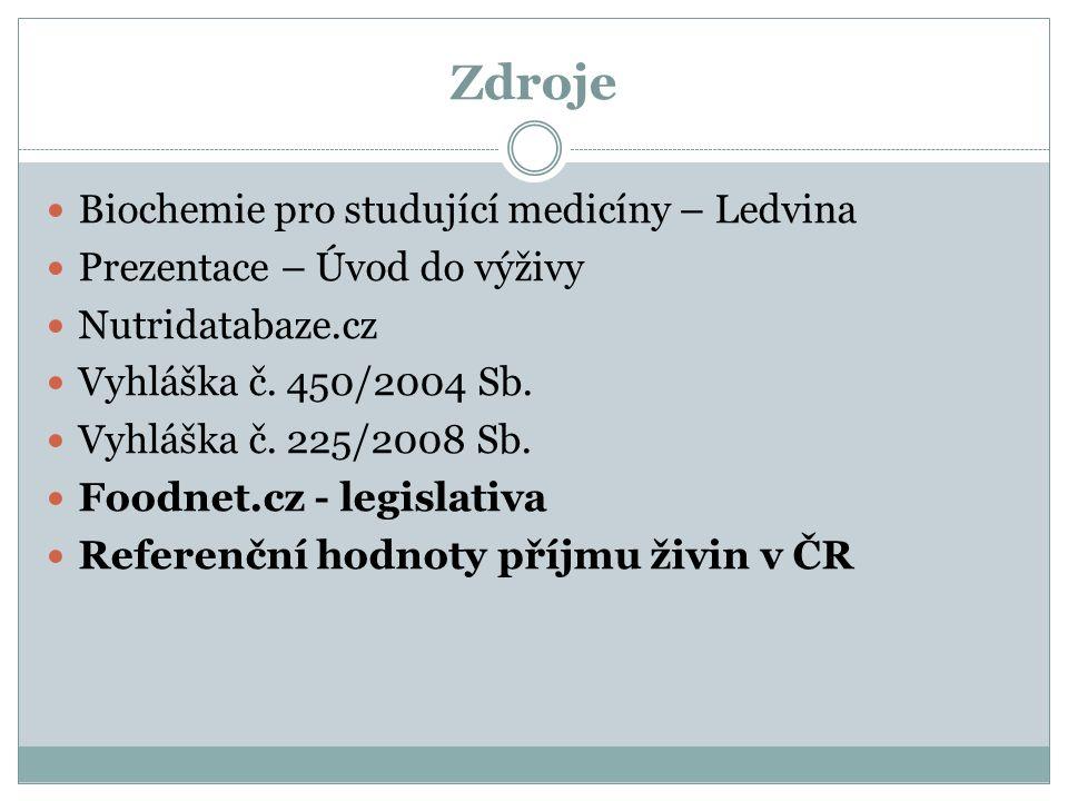 Zdroje Biochemie pro studující medicíny – Ledvina Prezentace – Úvod do výživy Nutridatabaze.cz Vyhláška č. 450/2004 Sb. Vyhláška č. 225/2008 Sb. Foodn