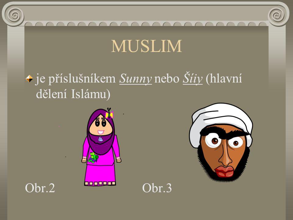 MUSLIM je příslušníkem Sunny nebo Šíiy (hlavní dělení Islámu) Obr.2Obr.3