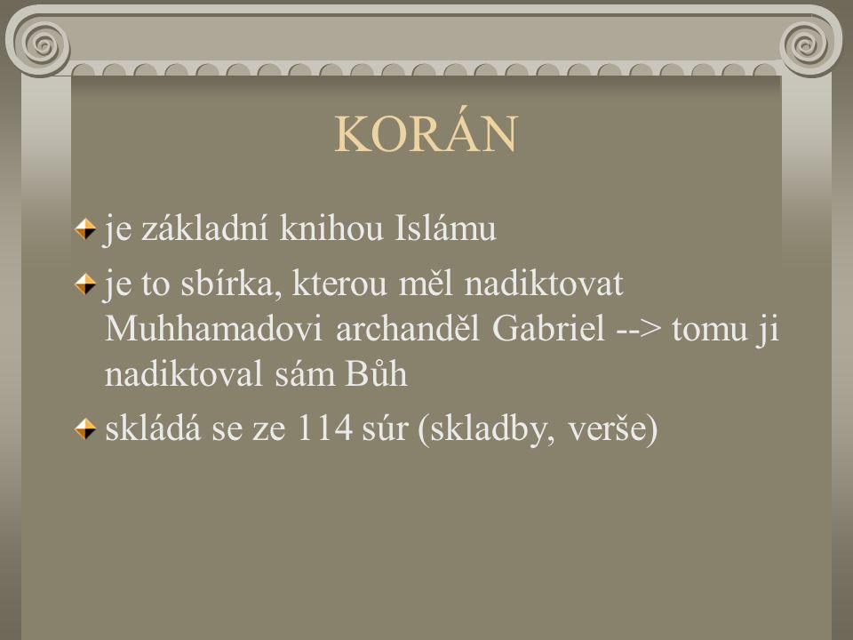 KORÁN je základní knihou Islámu je to sbírka, kterou měl nadiktovat Muhhamadovi archanděl Gabriel --> tomu ji nadiktoval sám Bůh skládá se ze 114 súr (skladby, verše)
