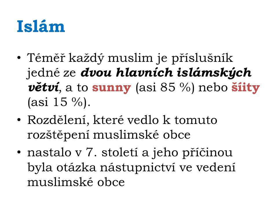 Islám Téměř každý muslim je příslušník jedné ze dvou hlavních islámských větví, a to sunny (asi 85 %) nebo šíity (asi 15 %).
